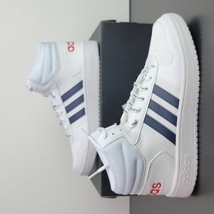 Adidas Hoops 2.0 Mid White Blue Red Men's Shoes
